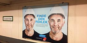 """Kampagnenplakat DGB """"Finde den Fehler"""" Klare Regeln für Werkverträge"""