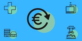 Icons Finanzierung Wohnungsbau Digitalisierung ÖPNV Gesundheitsversorgung