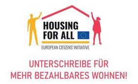 Logo Housing for all. Unterschreibe für mehr bezahlbaren Wohnraum!
