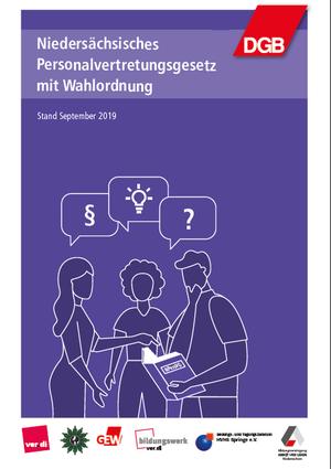 Cover des Niedersächsischen Personalvertretungsgesetzes mit Wahlhilfe, drei Menschen in einer Beratungssituation, gezeichnet