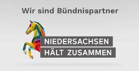 Logo Niedersachsen hält zusammen - ein buntes Pferd