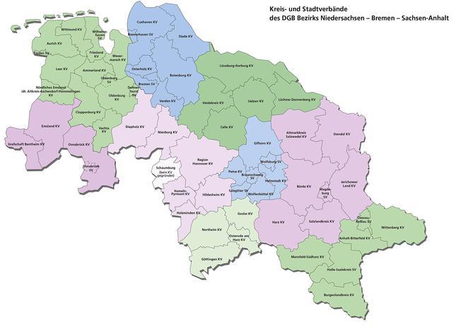 Karte der Kreis- und Stadtverbände