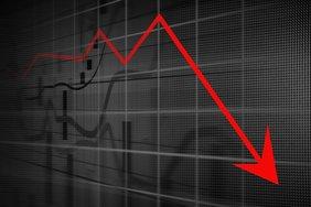 roter Pfeil bergab Rezession