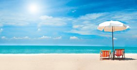 Paradies Strand Meer Himmel Sonnenstühle