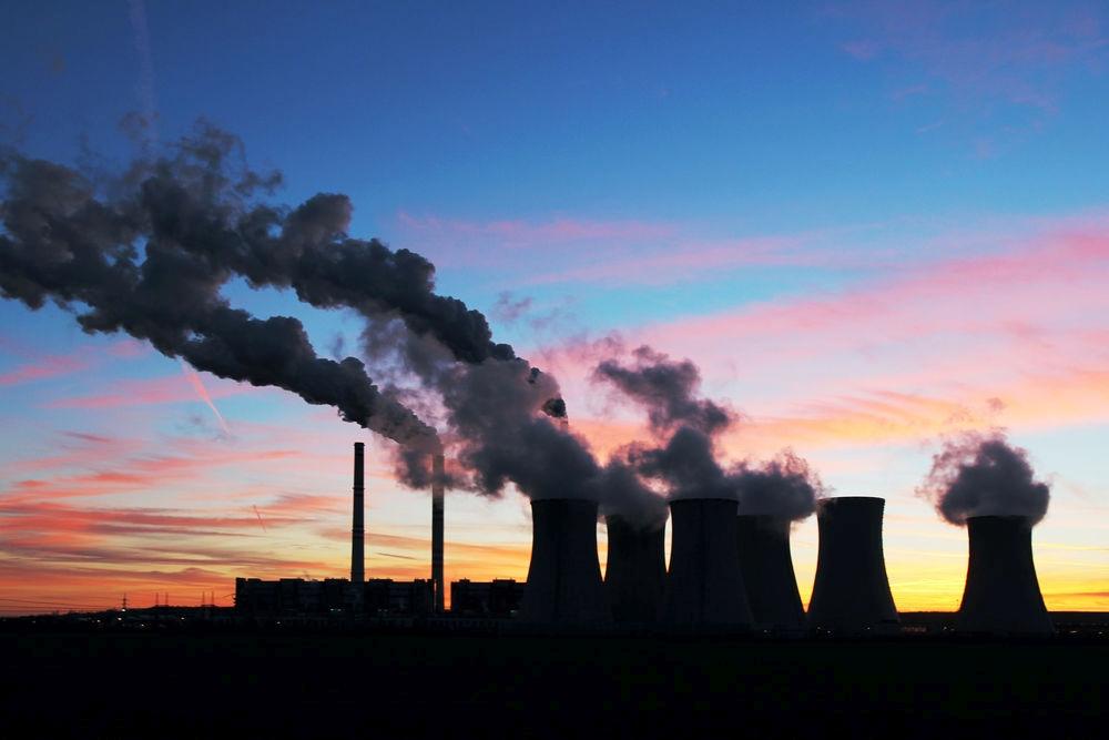 Kühltürme Kraftwerk Sonnenuntergang