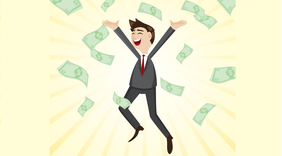 Mann im Anzug wirft mit Geldscheinen um sich