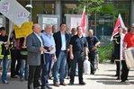 Dietmar Schilff (GdP), Eberhard Brandt (GEW), Arno Dick (ver.di) (von links) verdeutlich die Forderungen der Gewerkschaften
